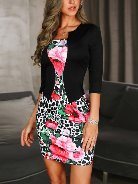 Floral & Leopard Print Belted Fake Two Piece Dress
