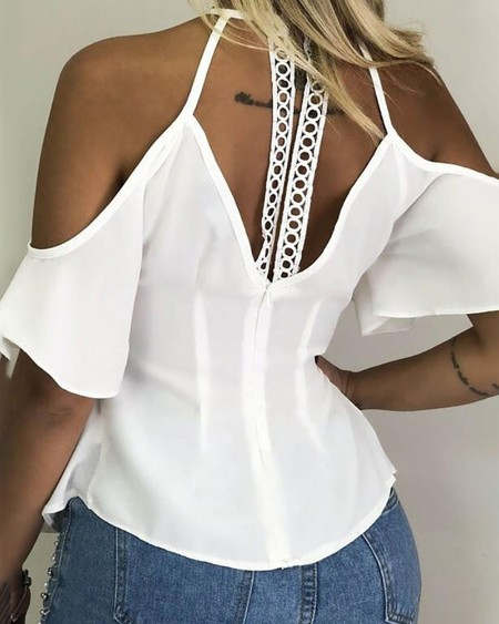 Cold Shoulder Hollow Out Casual Blouse