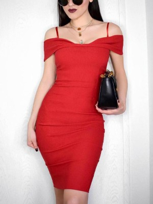 Fold Over Cold Shoulder Slip Bodycon Dress