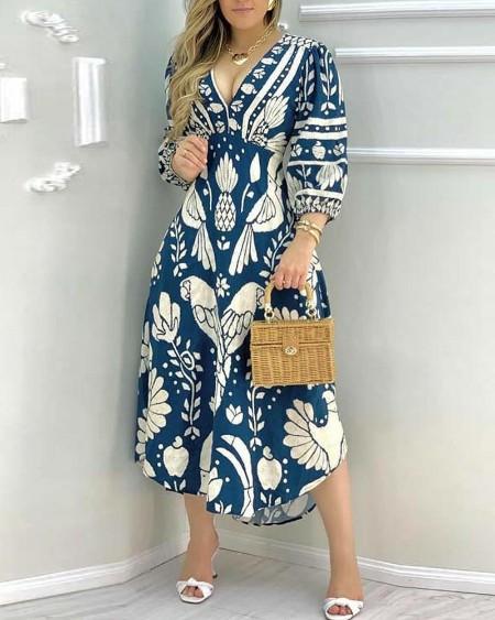 Printing Skinny Waist 3/4 Sleeve Dress