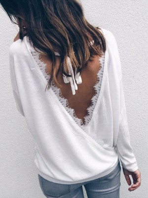 Sexy Eyelash Fringe Wrapped Open Back Casual Blouse
