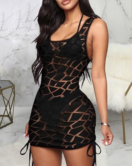 Contrast Mesh Drawstring Sides Mini Dress Cover Up without Bikini Set