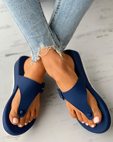 Eyelet Buckled Muffin Flip Flop