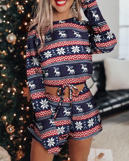 Christmas Drawstring Long Sleeve Pajamas Set