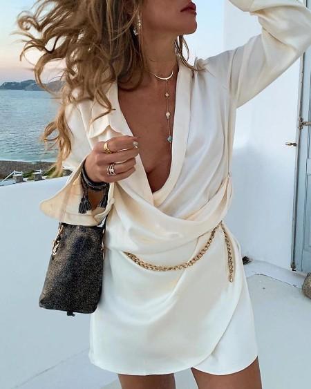 boutiquefeel / Deep V Neck Long Sleeve Dress