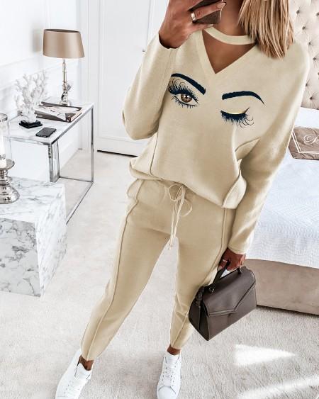 Eyelash Print Cutout Top & Drawstring Pants Set