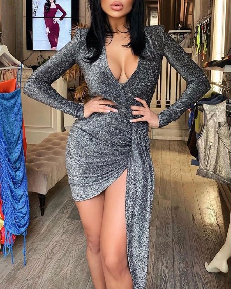 Glitter Plunge Ruched Long Sleeve Bodycon Dress