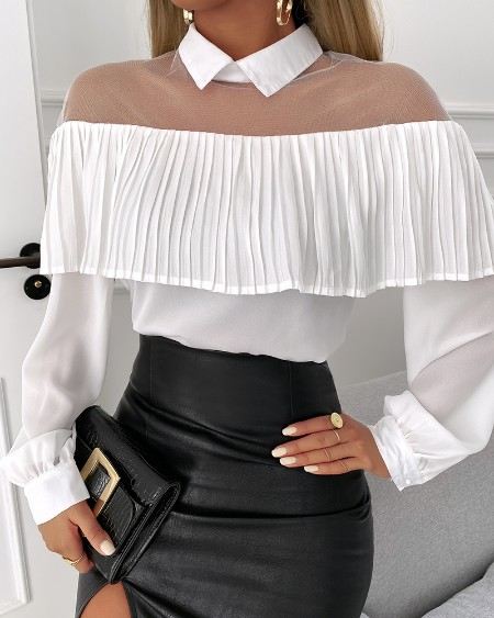 Ruffles Hem Sheer Mesh Long Sleeve Top