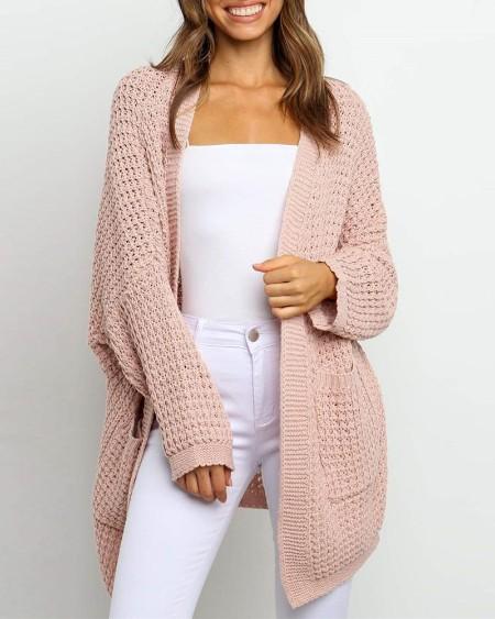 Pocket Design Plain Long Sleeve Casual Cardigan