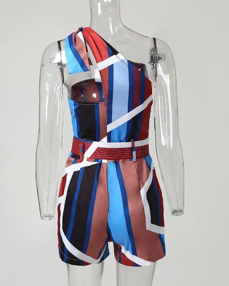 boutiquefeel / One Shoulder Stripes Knotted Romper