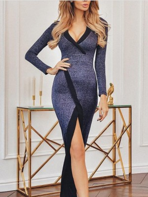Contrast Binding Slit Glitter Evening Dress