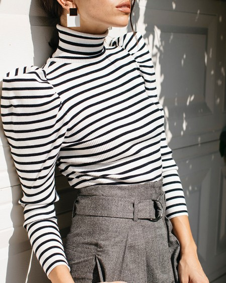 High Neck Colorblock Striped Puff Sleeve Blouse
