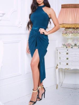 Solid Halter Scrunched Slit Party Dress