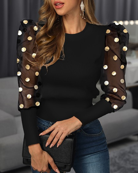 Mesh Dot Puffed Sleeve Blouse