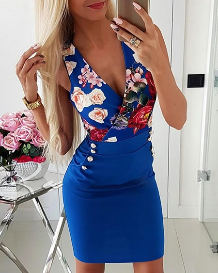 Deep V-Neck Floral Print Sleeveless Bodycon Dress