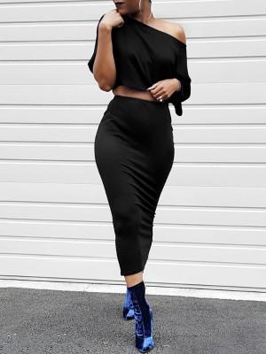 Solid Color Skew Neck Crop Tee&Pencil Skirt Set