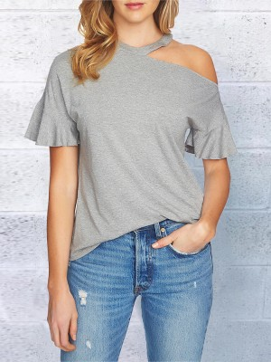 Solid Cold Shoulder Casual T-shirt