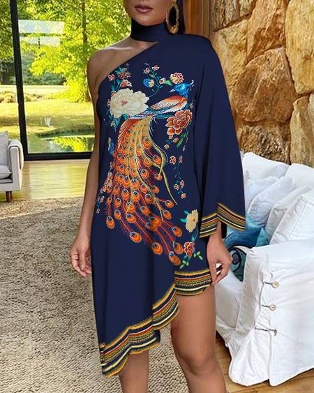 One Shoulder Peacock Floral Print Irregular Dress