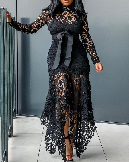 Lace See Through Dress & Lining Sets