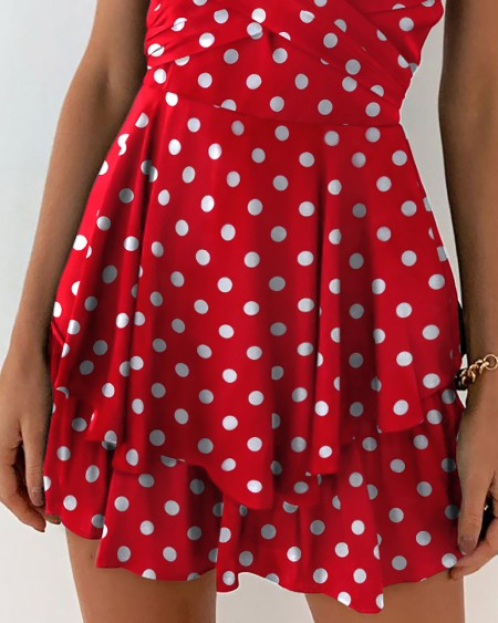 Dot Print Surplice Neck Cami Dress
