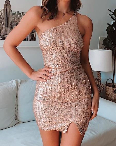 One Shoulder Sleeveless Sequins Dress
