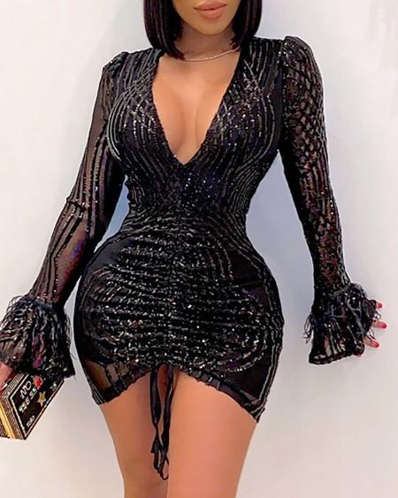 Sequins Tassel Design Drawstring Ruched Bodycon Dress