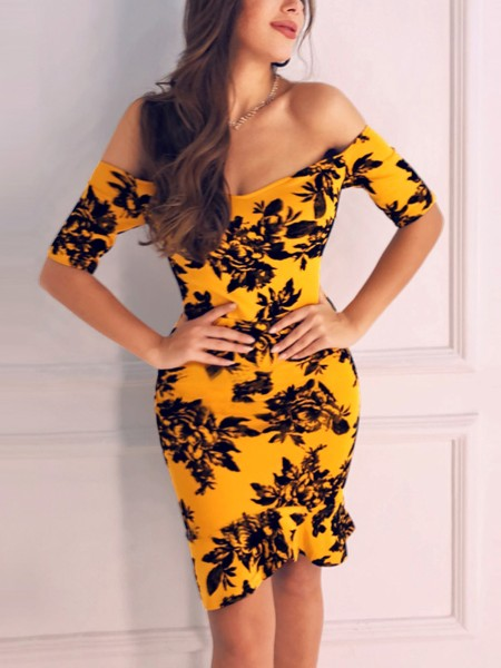 Off Shoulder Print Ruffles Bodycon Dress