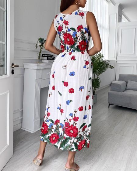 Thick Strap Floral Print  Maxi Dress