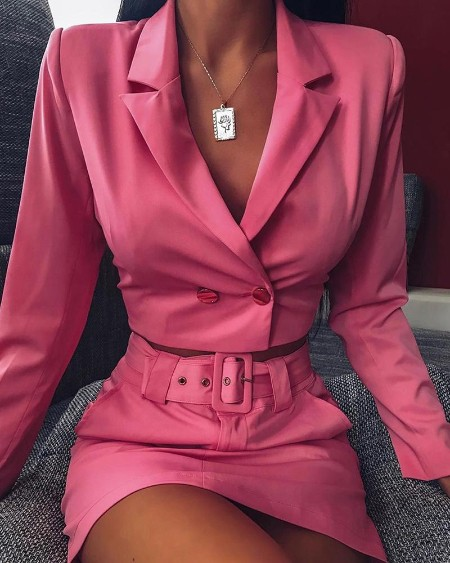 Solid Buttoned Blazer Top & Belted Slinky Skirt Sets