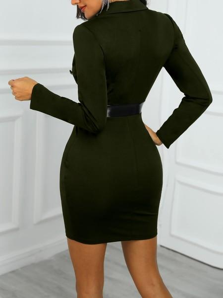 PU Splicing Double Breasted Blazer Dress