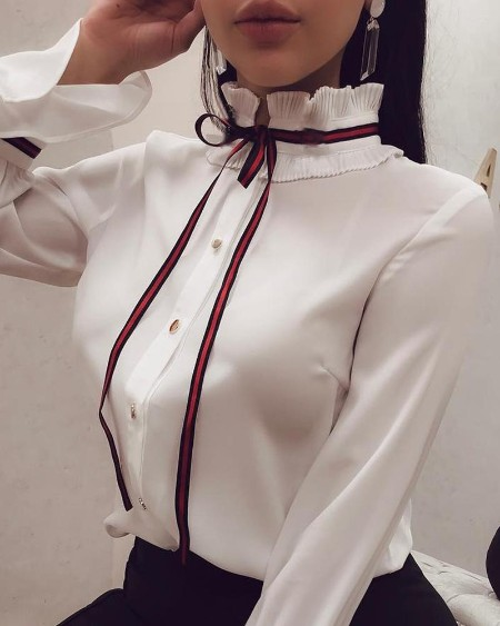 Mock Neck Striped Tape Tied Casual Shirt