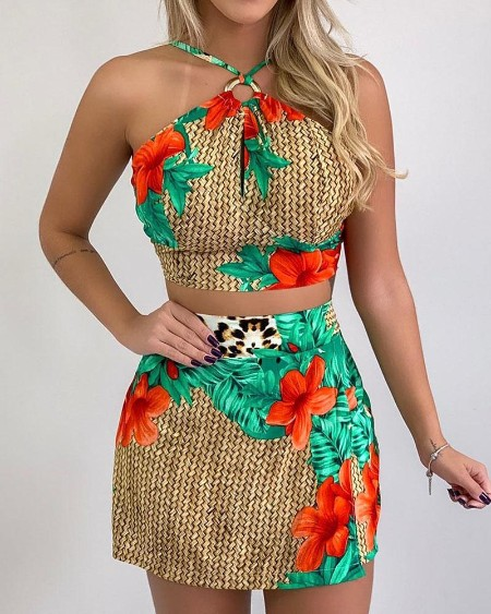 Halter Print Sleeveless Top & Skirt Set