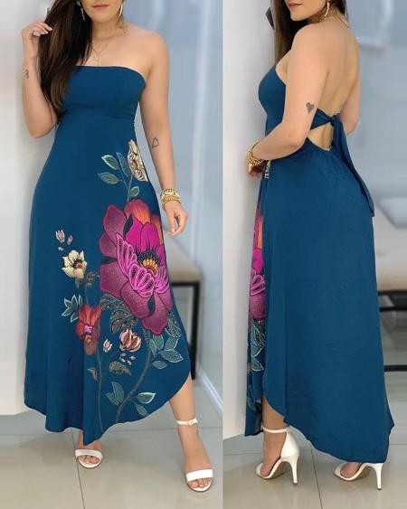 Floral Print Bandeau Tied Detail Maxi Dress