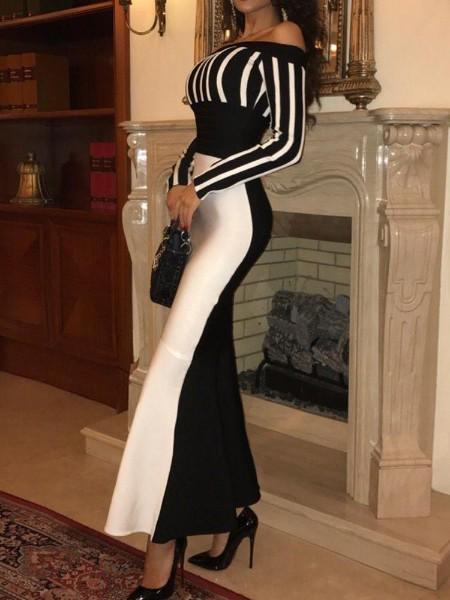 Off Shoulder Colorblock Striped Evening Dress