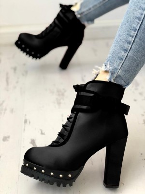 Rivet Embellished Lace-Up Chunky Thin Boots