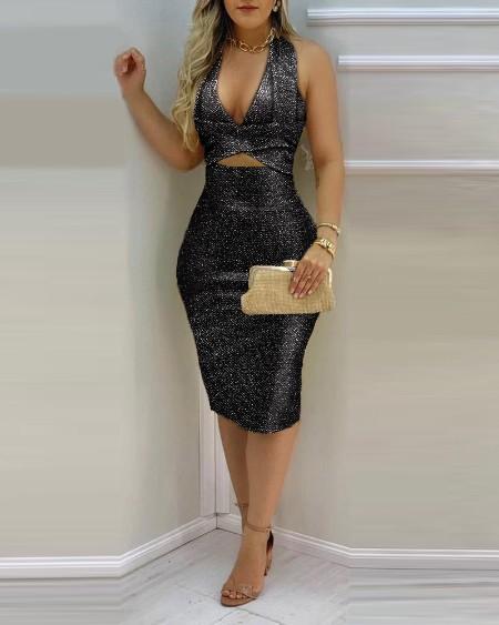 Glitter Halter Cutout Backless Midi Dress