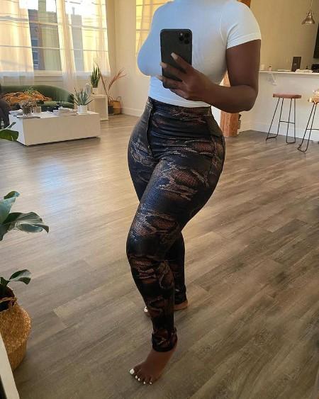 Snakeskin Print High Waist Skinny Pants