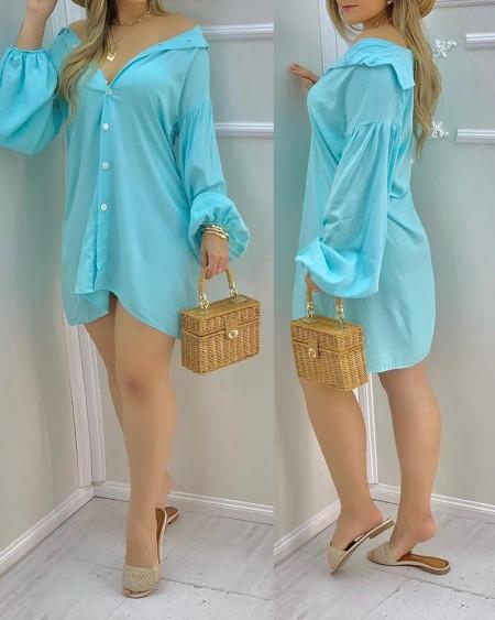 Plain Button V Neck Long Sleeve Shirt Dress