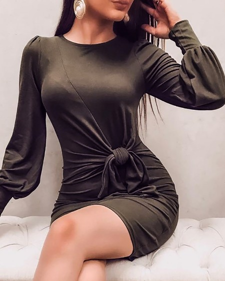 Solid Lantern Sleeve Knotted Bodycon Dress