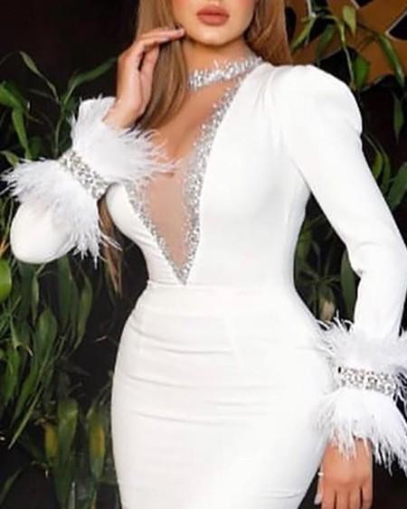 Sequin Feather Mesh Slit Evening Dress