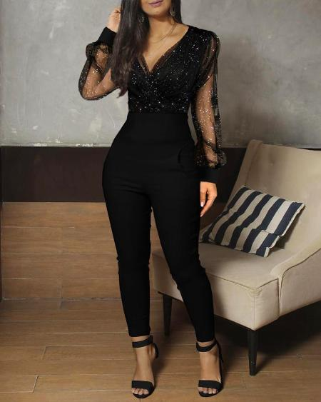 Sheer Mesh Glitter Pocket Design Jumpsuit
