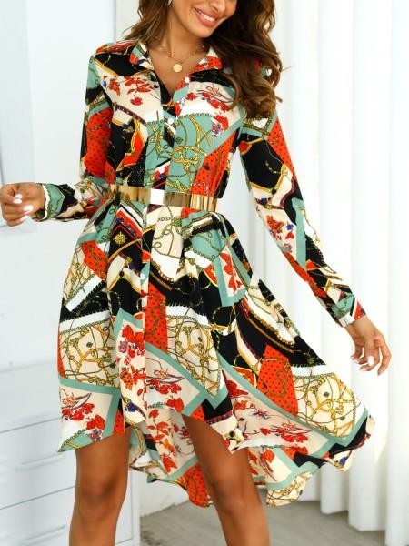 Mixed Print Dip Hem Pleated Shirt Dress
