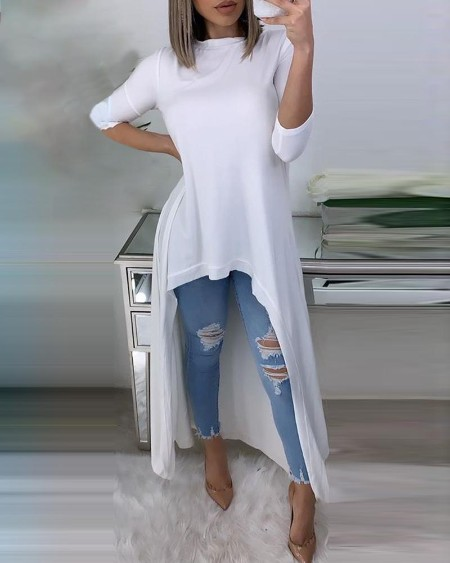 Solid Round Neck Asymmetrical Casual Blouse
