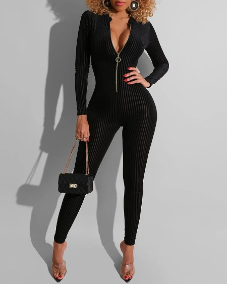 Striped Print Zipper Design Long Sleeve Skinny Jumpsuit