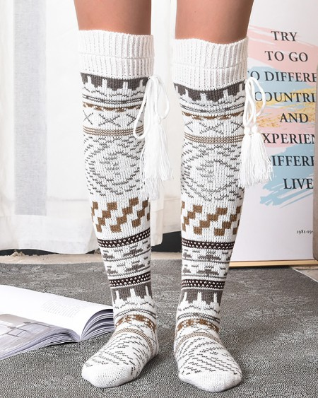 Christmas Pattern Tassel Knee Length Socks