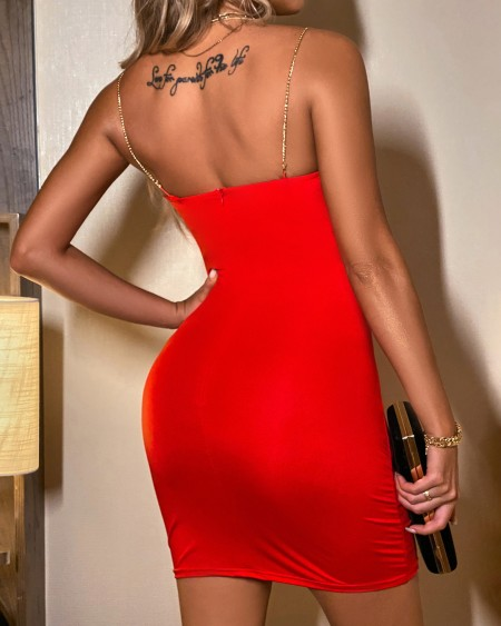 Chain Strap Bodycon Mini Dress