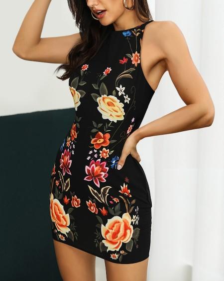 9ac4278eccc Floral Print Sleeveless Bodycon Dress ...