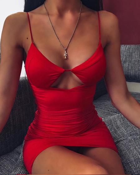 Solid Cutout Bra Cami Dress