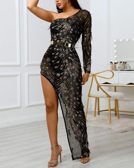 Sheer One Shoulder Sequins Feather Insert Irregular Hem Slit Dress