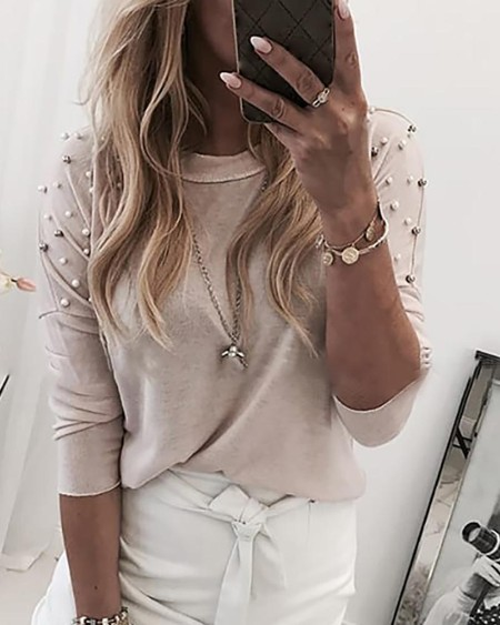 Solid Beaded Long Sleeve Casual Blouse